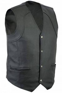 Turin Mens Motorcycle/Biker Classic Fit Casual 4 Pocket Leather Waistcoat - L de la marque Turin image 0 produit